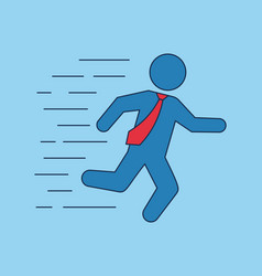 Running businessman with red tie stickman vector