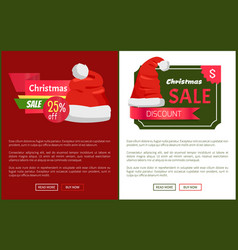 Sale emblems and santa claus hats on promo labels vector