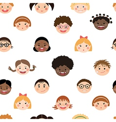 Seamless pattern with chlidrens smiling faces vector