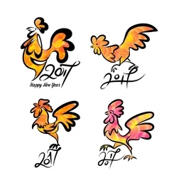 Set cute hand drawn characters of rooster vector