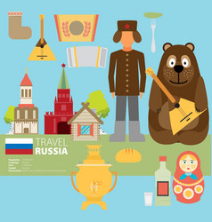 Set of russia-themed design elements vector