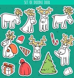 Set sticker deer doodle different poses for design vector