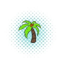Tropical palm tree icon comics style vector
