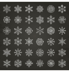 Winter snow flakes doodles vector