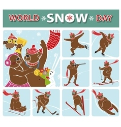 World snow daybear championwinter sports vector