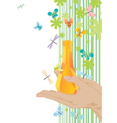 Yellow fragrance and butterflies vector