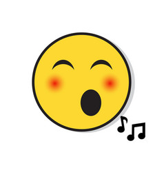 Yellow smiling face singing positive people vector