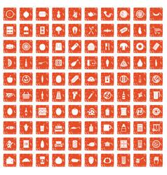 100 lunch icons set grunge orange vector