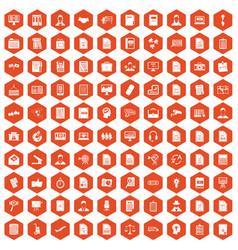 100 work paper icons hexagon orange vector image vector image