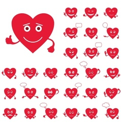 Valentine hearts smileys set vector