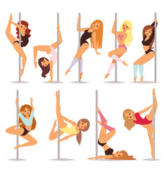 Set of pole dance women cartoon style isolated on vector
