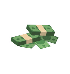 Bundles of money piled up vector
