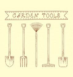 Vintage garden tools vector