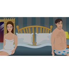 Sexless bedroom couple vector
