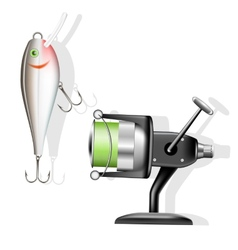 Fishing reel and wobbler vector