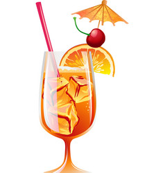 Cocktail bahama mama with ice and garnish vector