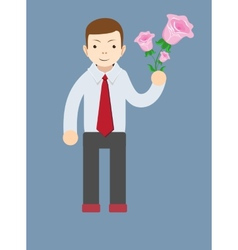 Businessman hand holding bouquet of pink rose vector