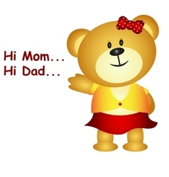 Little bear say hi mom and dad vector