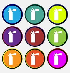 Extinguisher icon sign nine multi colored round vector