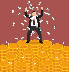 Businessman celebrates on money vector