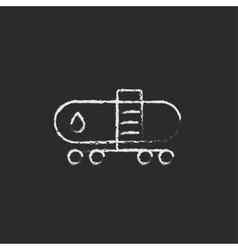 Oil tank icon drawn in chalk vector