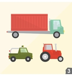 Container truck safari jeep and farm tractor vector