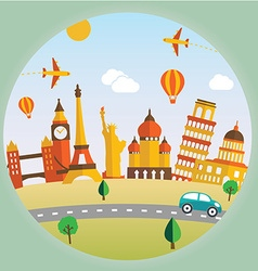 Travel and tourism background and landscape vector