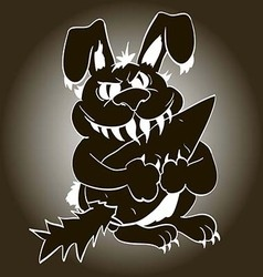 Toothy evil bunny with claws grabbed a vegetable vector