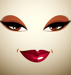 Facial expression of a young pretty woman coquette vector