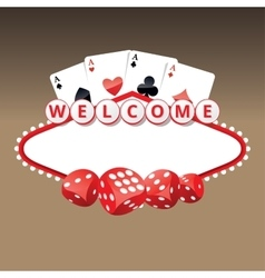Welcome sign with four aces cards and playing vector