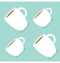 Coffee cup mug set blue background flat modern vector