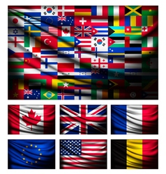 Big flag made out of world flags vector
