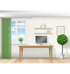 Interior room with work table vector