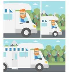Man driving motor home vector