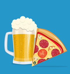 beer and pizza vector image vector image