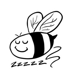 black and white bee vector image