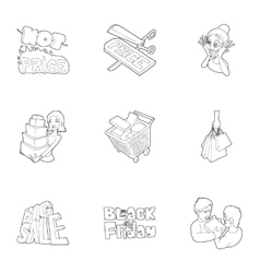 Black friday icons set outline style vector