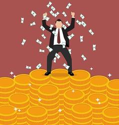 Businessman celebrates on Money vector image