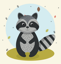 Cartoon raccoon wild animal with falling leaves vector