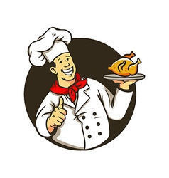 Chef cooking fried chicken vector