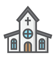church filled outline icon easter and holiday vector image