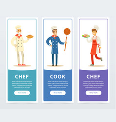Colorful banners set with professional restaurant vector