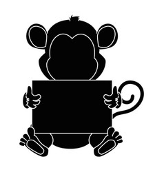 cute monkey with banner character icon vector image