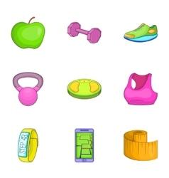 Fitness icons set cartoon style vector