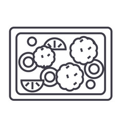 fried vegetables line icon sig vector image