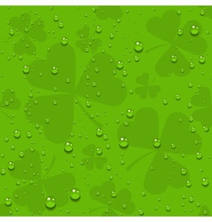 Green seamless clover leaves with transparent vector image vector image