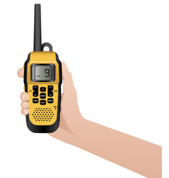 Hand with realistic walkie talkie vector