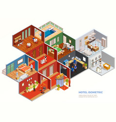 hotel isometric composition vector image