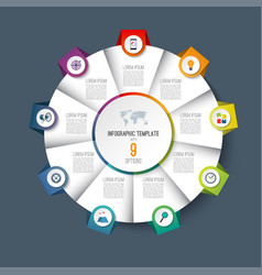 infographic pie chart circle with 9 options vector image