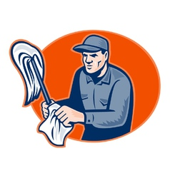 janitor cleaner with mop vector image vector image